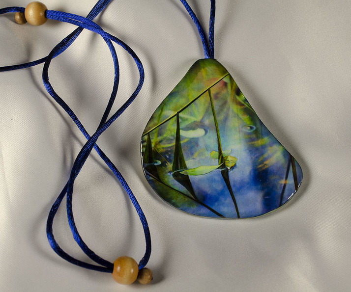 Blades of Grass, Watercolor Paper Pendant by Ross Barbera