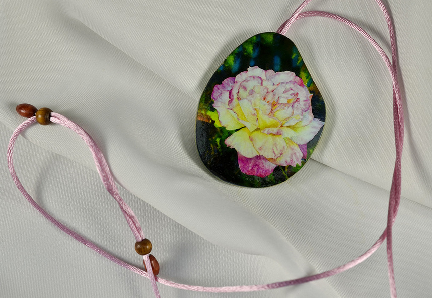 Last Rose of Summer, Watercolor Paper Pendant by Ross Barbera